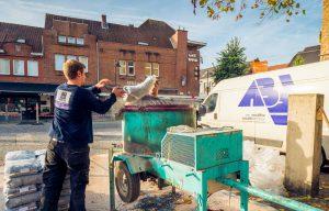 Installeren terradec op plein in Bornem.