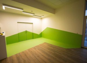 Groene polyurethaan vloer en muren.