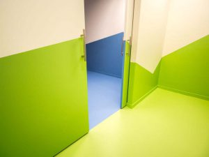 Polyurethaan muur in groene kleur.